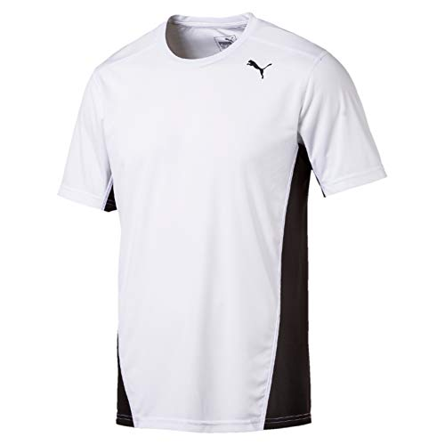 Puma Cross The Line Tee T-Shirt Homme, White Black, XL
