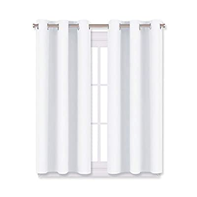 NICETOWN Draperies Curtains Panels, Blocking Out 50% Sunlight Window Treatment Curtains, Grommet Top Small Window Drapes for Bedroom (2 Panels, 29 by 45, White)