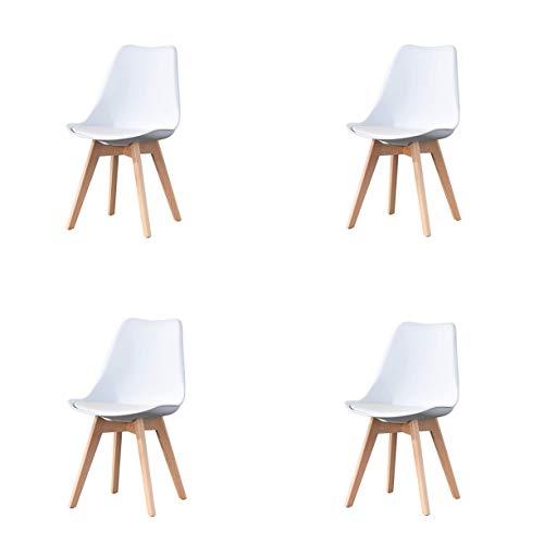 Juego de 4 sillas de comedor clásicas clásicas nórdicas de cuero con patas de madera maciza para muebles de hogar y oficina comercial (blanco)
