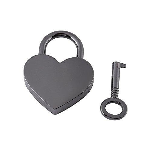 GLOGLOW klein Metall Herzform Vorhängeschloss, Mini Gepäck Tasche Diary Lock mit Schlüssel Schmuck Aufbewahrungsbox Zubehör Tiny Heart Lock