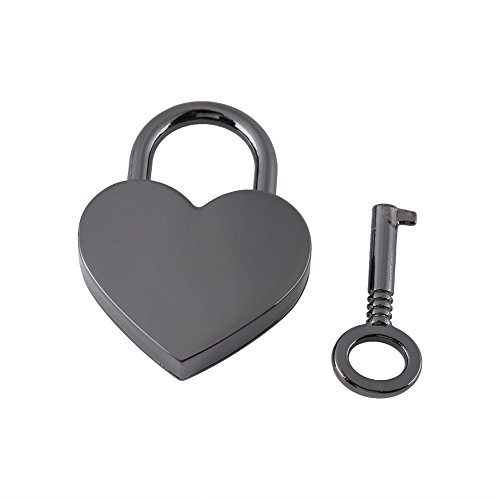 Yisentno Padlock, Diary Lock, Heart Shape Unique Zinc Alloy Gun Black for Girls Jewelry Box Diary Book Decoration
