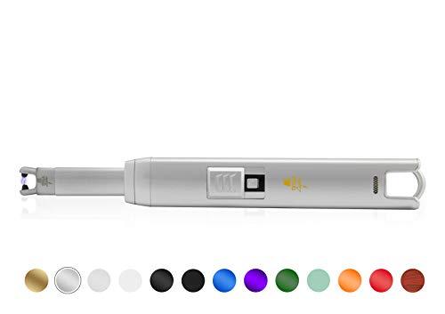 TESLA Lighter T07 Lichtbogen Feuerzeug, Grillfeuerzeug, Stabfeuerzeug, BBQ, elektronisch wiederaufladbar, aufladbar mit Strom per USB, ohne Gas und Benzin, mit Ladekabel, in edler Geschenkverpackung, Silber