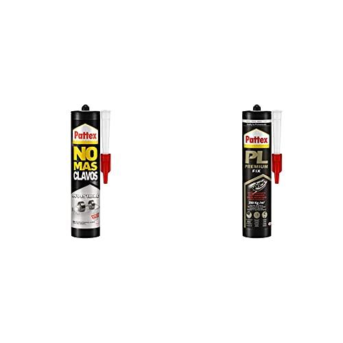 Pattex No Más Clavos Invisible, pegamento resistente transparente, pegamento extrafuerte para madera + PL Premium Pegamento adhesivo de montaje resistente al agua, blanco,1 cartucho x 460 g