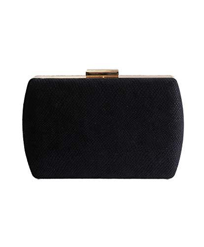 Eferri, Bolso de noche fiesta clutch Glamour para Mujer, Negro, 18x13x5 cm