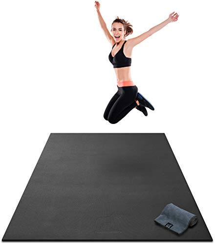 Premium Large Exercise Mat - 7' x 4' x 8mm Ultra Durable, Extra Thick, Non-Slip, Workout Mats for Home Gym Flooring - HIIT, Plyo, Cardio, Jump Mat - Use With or Without Shoes (213cm Long x 122cm Wide)