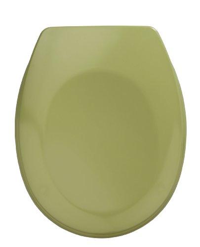 WENKO WC-Sitz Bergamo Moosgrün - Antibakterieller Toilettensitz, rostfreie Edelstahlbefestigung, Duroplast, 35 x 44.4 cm, Moosgrün