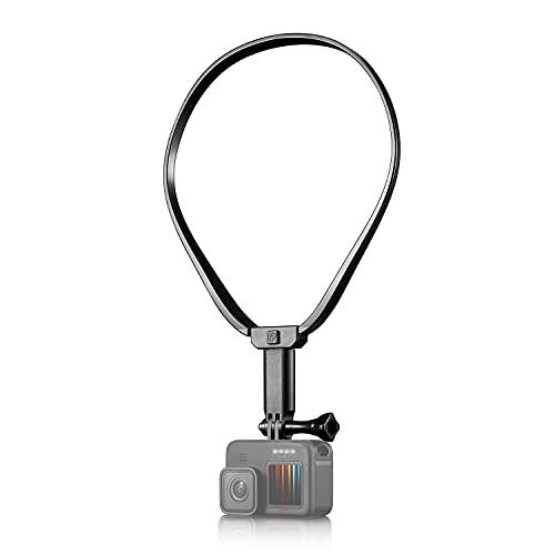 【Taisioner】アクションカメラ用首掛け ロック式 上下伸縮可能 縦様・横様撮影可能 スマホホルダー・延長アダプター付き POV撮影必要