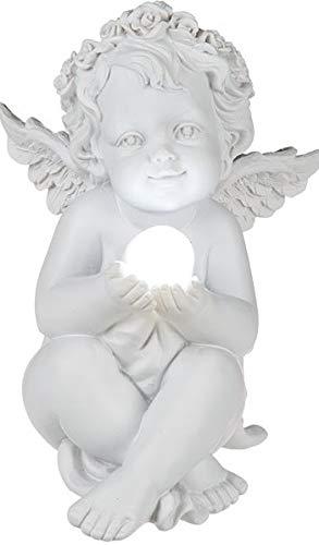 Christshop Engel sitzend - antik Weiss - mit LED-Kugel beleuchtet