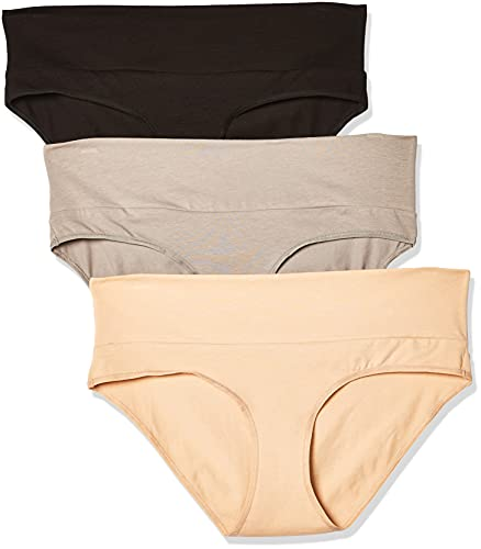 Motherhood Maternity Women s 3 Pack Fold Over Brief Panties black, nude, flat grey multi pack Large