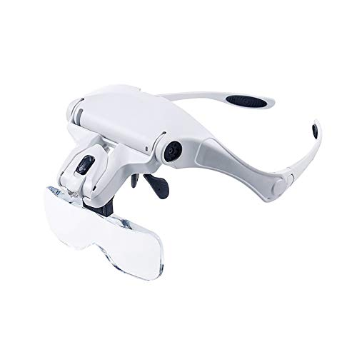 Soapow Head-mounted Lupe Hands-Free Lesung Lupe Brillen, Kopfband Lupe mit LED-Licht with Juwelier-Lupe 5 austauschbarer Linsen