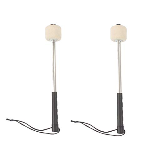 2 Pieces White Felt Head Percussion Mallets Timpani Sticks with Stainless Steel Handle suit for Marching Band Bass Drum Skid Resistance