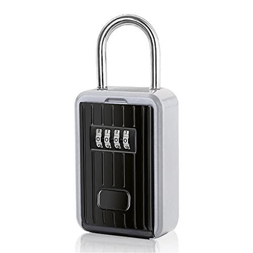 JJZXT Caja de Almacenamiento de Llave Montaje en Pared Llavero de Llave Safe4-Digit Combinación FRIADA RESENTABLE Cabeza DE Clave Interior AUTORIR Zinc ALOUZ
