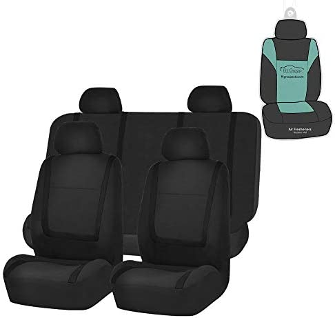 FH Group FB032114 Unique Flat Cloth Seat Covers Black Full Set with Gift Universal Fit for Cars product image