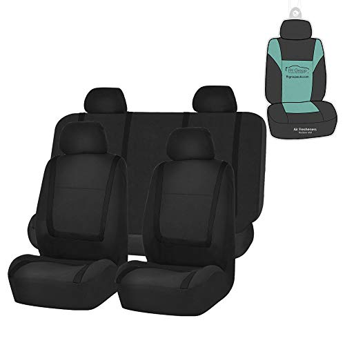 FH Group FB032114 Unique Flat Cloth Seat Covers (Black) Full Set with Gift – Universal Fit for Cars Trucks & SUVs