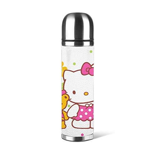 AEMAPE Hello Kitty Taza de vacío Taza de Agua de Acero Inoxidable aislada Botella de Agua con Aislamiento al vacío Café Deportivo Taza de Viaje Taza Termo Cubierta de Cuero Capacidad 17OZ 500ML ~ Q5