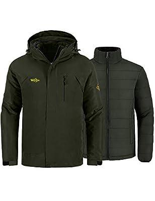 Wantdo Men's Waterproof Snowboarding Coat Wind Resistant Rainwear Army Green M by