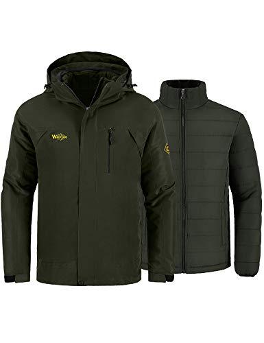 Wantdo Men's Waterproof Jacket Snowboard Coat Winter Rainwear Army Green 2XL