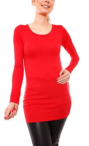 Easy Young Fashion Damen Langarm T-Basic Shirt Lang Longshirt Langarmshirt Unterziehshirt Minikleid Unterkleid Rundhals Uni Rot M/L