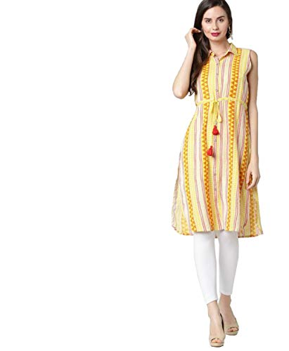 Morpankh By FBB Printed Kurta with Tie-Up Mustard