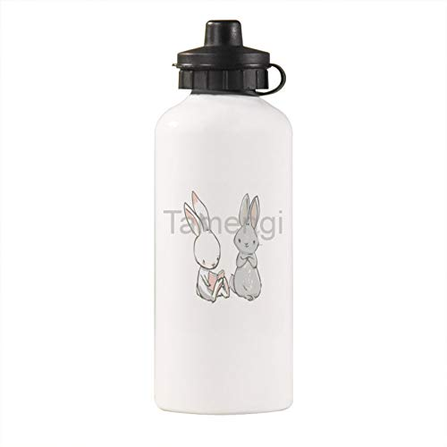 Tamengi Cute Rabbit Best Friends Book Lover Stainless Steel Water Bottle, Leakproof,Keeps Liquids Hot or Cold for Fitness,Gym and Outdoor Sports 21oz
