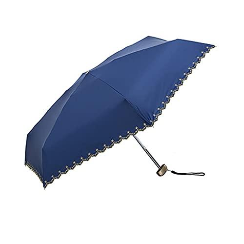 ShenMiDeTieChui Paraguas de Viaje, Compacto, Plegable UV Paraguas para protección Sol Mujer Sombrillas de Lluvia (Color : Blue)