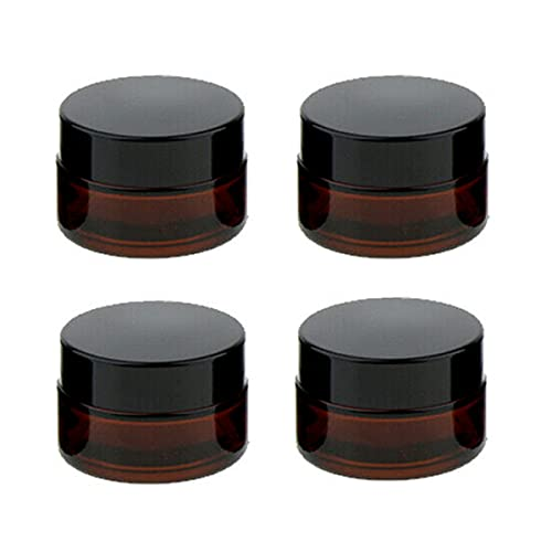 CHMYY 4 Stück 20ml Amber Glas Leerdose,Cremedose Leer,Nachfüllbare Behälter Braunen Glasbehälter mit Deckel und Liner klarer Tiegel für Kosmetik Cremes Lotionen ätherische Öle Pulver