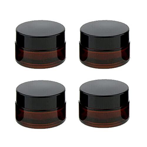 CHMYY 4 Piezas 20ml Envase Cosmético Vacío,Ámbar Tarros de Cristal con Forro Interior Blancos y Tapas de Plástico Negro para Cosméticos Crema Facial Loción Rellenables Botella