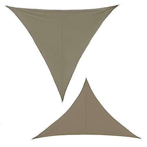 BB Sport Sonnensegel 3.6m x 3.6m x 3.6m Cappuccino Dreieckig Sonnenschutz 100% PES Sichtschutz Windschutz Tarp UV Schutz Garten Terrasse Camping Schattenspender