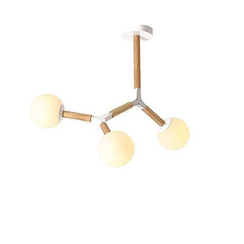 WYBW Candelabro, Candelabro Sputnik creativo moderno, E27 Globo de vidrio esmerilado antiguo Rama de luz colgante Candelabros vintage Lámpara de luz de techo Estilo japonés Blanco + Madera 3 luces,Bl