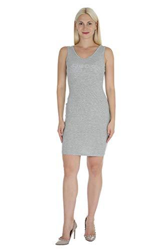 bebe Women's Sleeveless Tank Style Dress with Scoop Neckline, Gray, XL