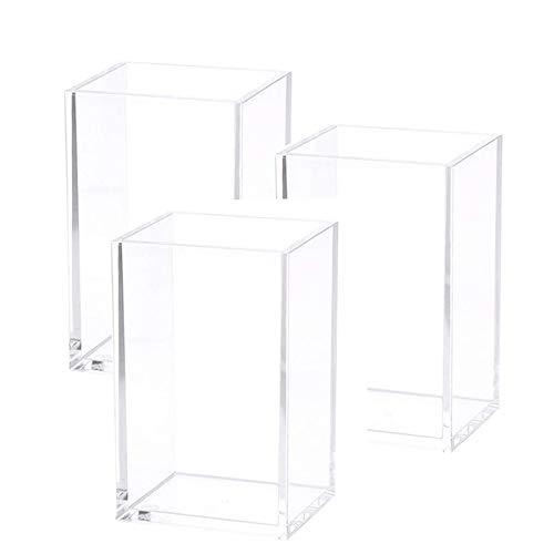 PQZATX - Portapenne in acrilico trasparente, da scrivania, per cancelleria, per ufficio, confezione da 3