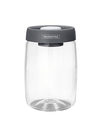 Tramontina 61225-120 jar, 1.2 l, Vacuum lid, Glass, Food Storage Container, Diameter 10 cm, Height 17 cm, Dishwasher Safe, Transparent