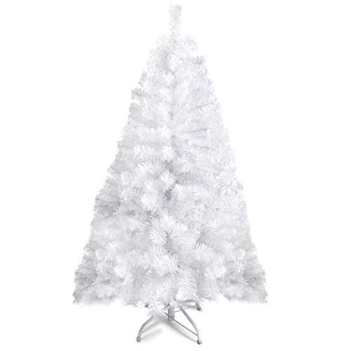 Prextex 4 Feet White Christmas Tree - Premium Hinged Artificial Canadian Fir Full Bodied White Christmas Tree Lightweight and Easy to Assemble with Christmas Tree Metal Stand 320 Tips