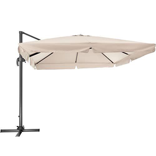TecTake 800661 - Parasol Excéntrico, Sombrilla de Jardín, Aluminio, Protección Solar UV 50+, 3x3 m (Beige | No. 402992)