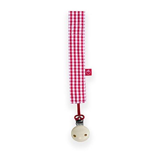 La fraise rouge 4251005601396 Sucette clip, Marcel, carreaux vichy, rouge/blanc