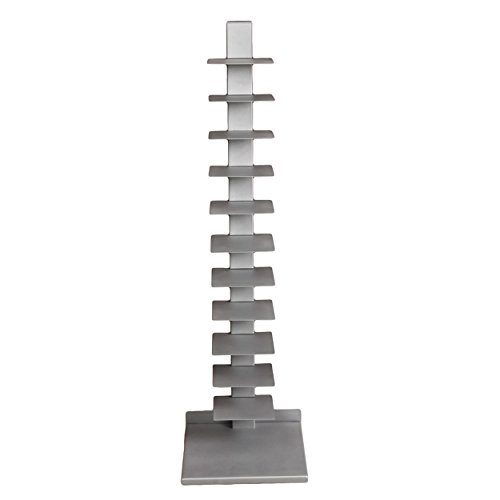 Southern Enterprises Spine Book Tower - Metal Floor Shelves, Silver
