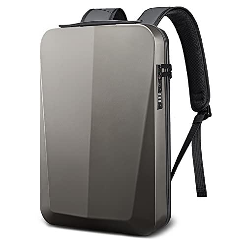 Backpacks de Desgaste de la Calle Slim Hard Shell Hombre de Negocios Mochila de Hombro Bolso portátil USB Multi Capa Almacenamiento Bolsa Impermeable (Color : Titanium Gold, Size : 16 Inches)