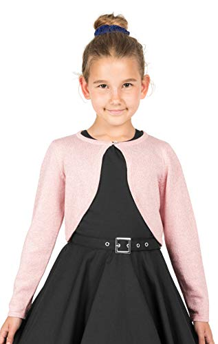 BlackButterfly Kids Long Sleeve Sparkle Cardigan Childrens Girls Bolero Shrug (Baby Pink, 5-6 YRS)