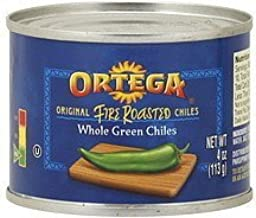 Ortega, Canned Green Chiles, Whole Fire Roasted, 4oz Can (Pack of 4) (Select Size Below) (Whole Fire Roasted Green Chiles 4oz)