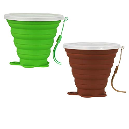 AVALEISURE Collapsible Travel Cup - Ultra-Slim Foldable Silicone Cup with Lid for Coffee, Water, Tea - Portable Camping, Hiking, Outdoor Sets (Green.Brown)