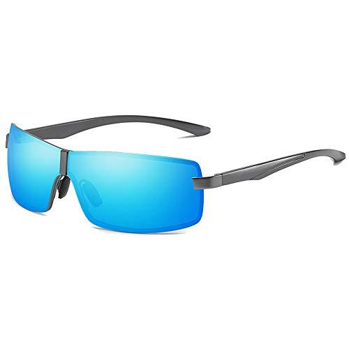 LG Snow Gafas de sol polarizadas de moda de visión nocturna, material de metal, color azul y marrón para conducción de hombres (color: azul)
