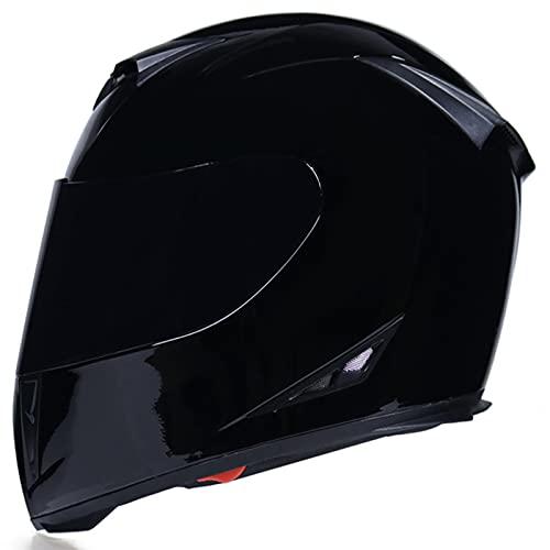 Casco de motocicleta para adultos, cascos de cuco de cara completa Casco de moto Flip con M-XXL negro brillante con espejo de té 1500G Four Seasons Impermeable Anti-Fog Viseras ECE aprobado