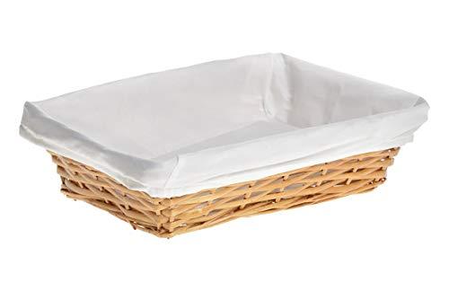 HERSIG - Bandeja Mimbre Natural   Cesta Rectangular con Forro, sin Asas - 35 x 25 x 9 cm