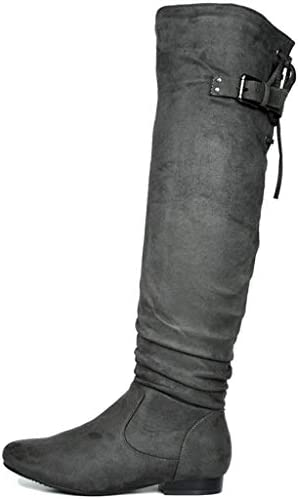 DREAM PAIRS Women s Colby Grey Over The Knee Pull On Boots 8 5 M US product image