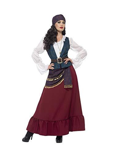 Smiffys 45534L - Damen Piraten Seeräuber Beauty Kostüm, Kleid, Schärpe, Kopftuch und Kette, Größe: 44-46, lila