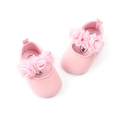 ENERCAKE Baby Girl Shoes Soft Sole Floral Newborn Infant Mary Jane Flats Princess Wedding Dress Shoes(0 Months-6 Months Infan, A-Pink)