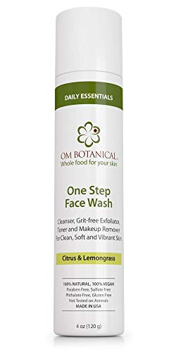 Image of One Step Exfoliating FACE WASH for Men, Women, Teenagers | All-in-one Deep Pore Cream Cleanser, Facial Toner, Enzyme Exfoliator, Natural Acne Wash | Vitamin C and Organic Ayurvedic Ingredients