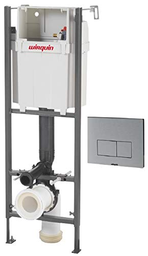 Wirquin pro - Cisterna empotrada con pulsador design aluminio para WC, 0,98-1,17 m Ref.55950018
