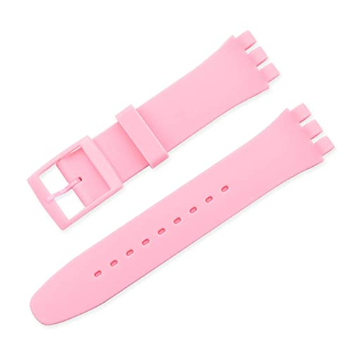 FETTR Correa de repuesto de silicona de 12 mm, 16 mm, 17 mm, 19 mm, 20 mm, correa de silicona colorida (color: rosa, tamaño: 19 mm)
