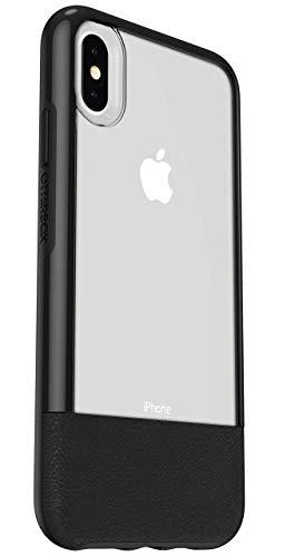 OtterBox Slim Case Bundle - Set aus sturzsicherer Schutzhülle + ultrarobustem Performance Glass Displayschutz. Transparent mit Lederapplikation für iPhone Xs Max. Schwarz